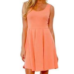 Coral fit n flare dress M